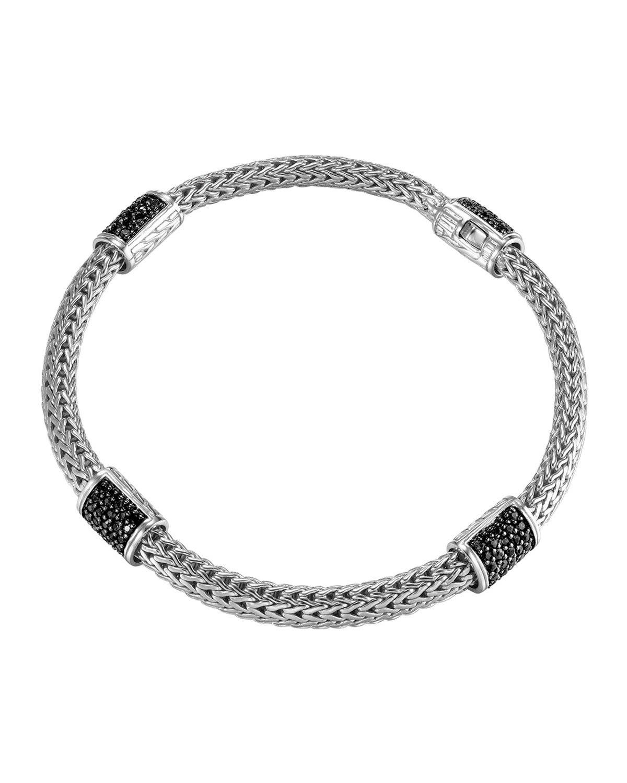 John Hardy Classic Chain 4-Station Black Sapphire Bracelet tKpLYvqJu