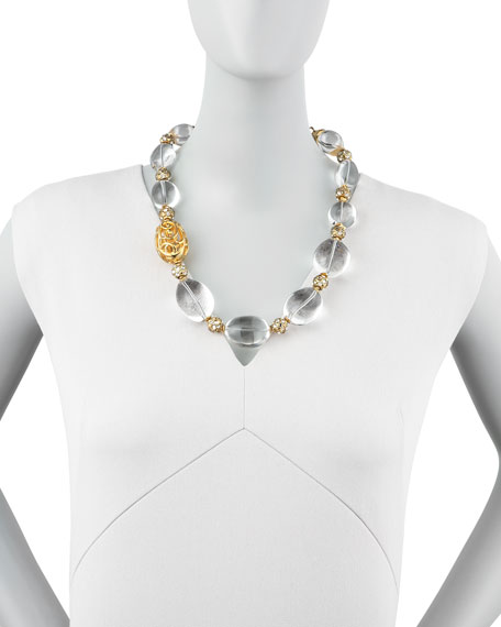 Rock Crystal Bead Scroll Necklace