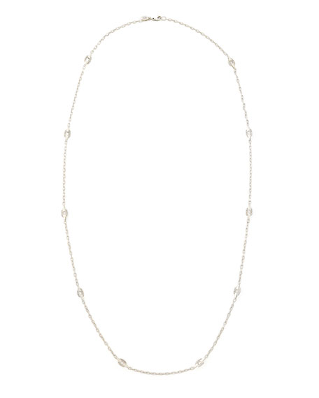 "Classic Chain Silver Geometric Link Station Necklace, 36""L"