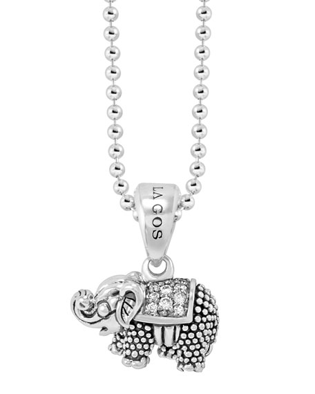 Rare Wonders Diamond Elephant Pendant Necklace