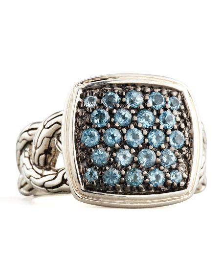 Classic Chain Small Cushion Woven Ring, Blue Topaz