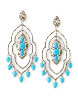 John Hardy Batu Dot Morocco Chandelier Earrings, Turquoise