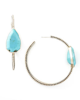 Stephen Dweck Cathedral Large Silver Hoop Earrings, Turquoise