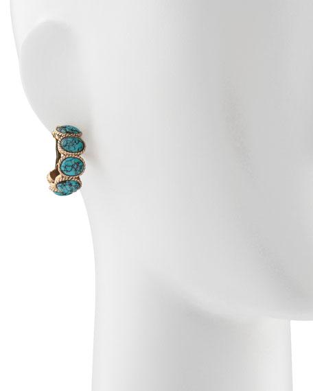 Turquoise Cabochon Hoop Earrings