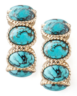 Stephen Dweck Turquoise Cabochon Hoop Earrings