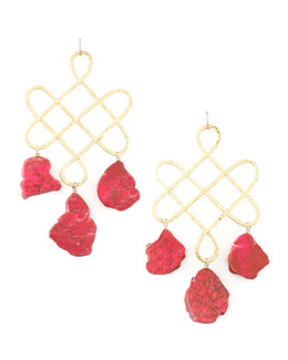 Devon Leigh Red Howlite Drop Earrings