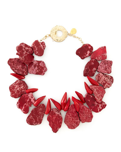 Devon Leigh Howlite & Coral Necklace
