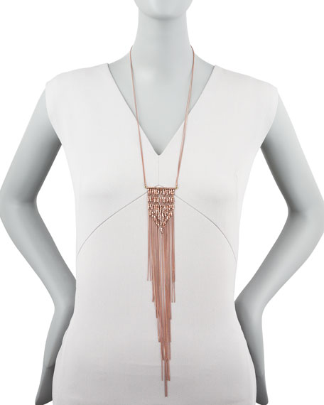 Rose Golden Fringe Pendant Necklace