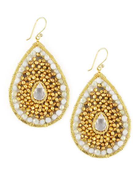 Beaded Teardrop Earrings, White