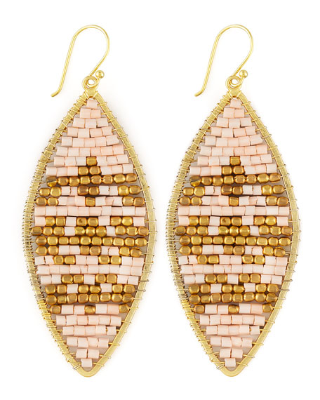 Beaded Leaf-Shape Earrings
