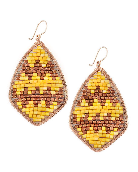 Beaded Teardrop Earrings, Yellow