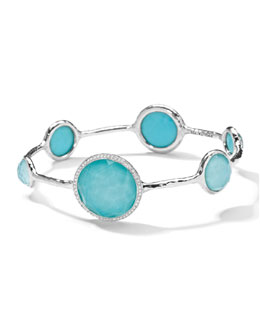 Ippolita Stella Bangle in Turquoise Doublet with Diamonds