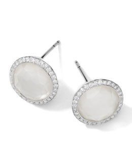 Ippolita Stella Stud Earrings in Mother-of Pearl Doublet with Diamonds