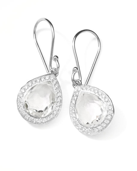Rock Candy Teardrop Earrings in Clear Quartz with Diamonds, 28mm