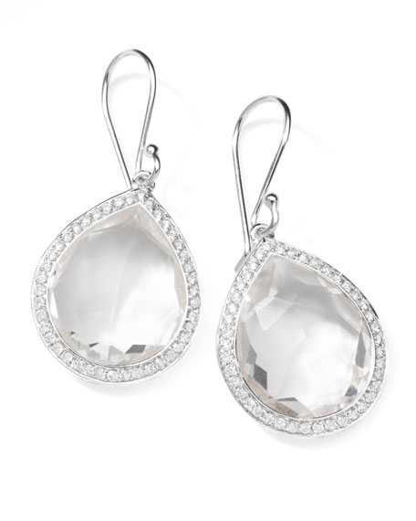Rock Candy Diamond Quartz Teardrop Earrings, 34mm