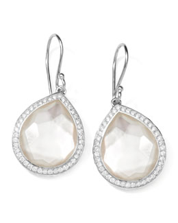 "Ippolita Stella Teardrop Earrings in Mother-of-Pearl Doublet with Diamonds, 1""L"