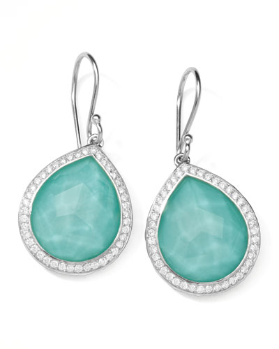 "Stella Teardrop Earrings in Turquoise Doublet with Diamonds, 1""L"