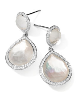 Ippolita Stella 2-Stone Drop Earrings in Mother-of-Pearl Doublet with Diamonds