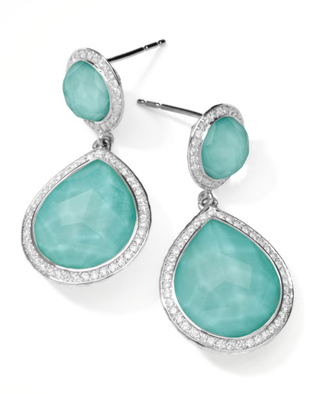 Stella 2-Stone Drop Earrings in Turquoise Doublet with Diamonds