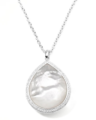 Ippolita Stella Large Teardrop Pendant Necklace in Mother-of-Pearl with Diamonds
