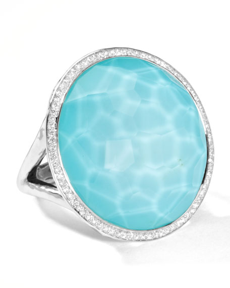 Stella Large Lollipop Ring in Turquoise Doublet with Diamonds, 0.32