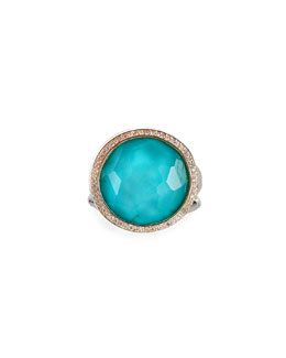 Ippolita Stella Lollipop Ring in Turquoise Doublet with Diamonds, 0.23