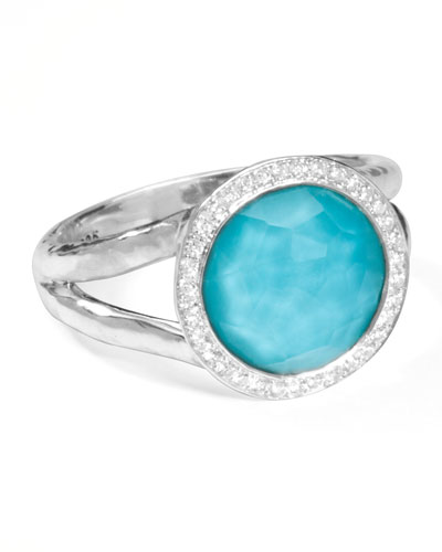 Stella Mini Lollipop Ring in Turquoise Doublet with Diamonds, 0.15