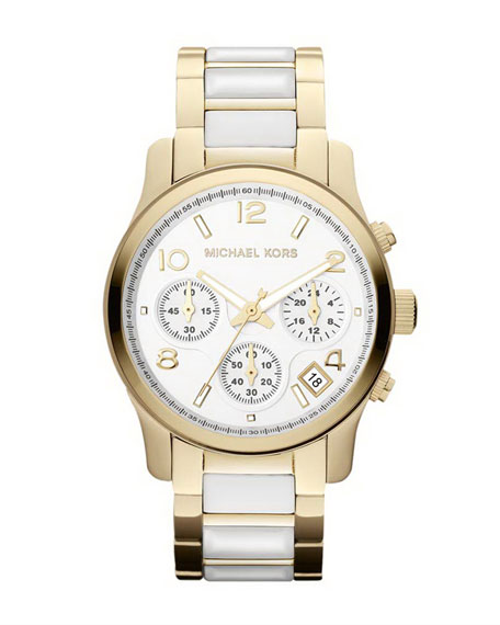 Mid-Size Golden/White Acetate Runway Chronograph Watch