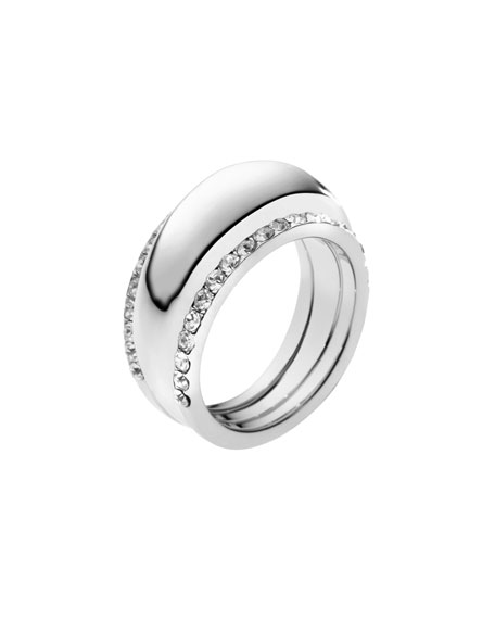 Pave-Insert Ring, Silver Color