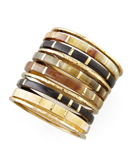 Ashley Pittman Bora Horn & Bronze Bangles, Set of 10