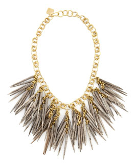Ashley Pittman Grey Quill-Bead Necklace