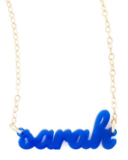 Moon and Lola Personalized Acrylic Name Pendant Necklace