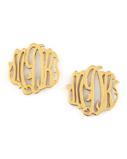 Moon and Lola Gold-Fill Script Monogram Stud Earrings