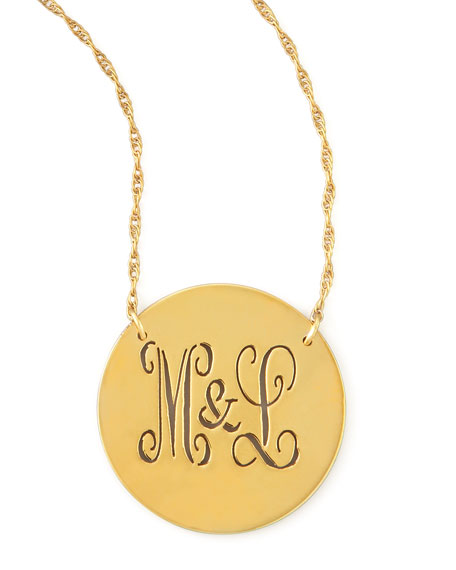 Gold Disc Cutout Script Monogram Necklace