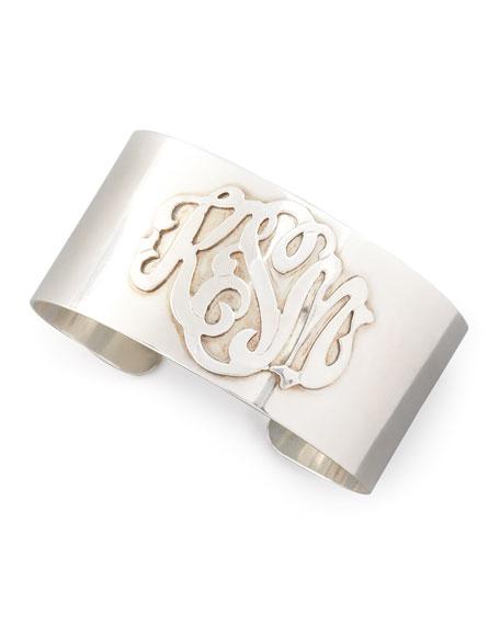 Sterling Silver Script Monogram Cuff