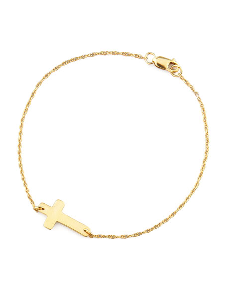 Moon and Lola Gold-Plate Integrated Cross Bracelet
