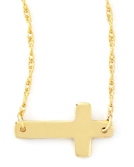 Gold-Plate Integrated Cross Necklace