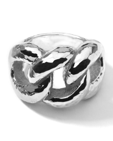 Silver Hammered Wavy Knot Ring