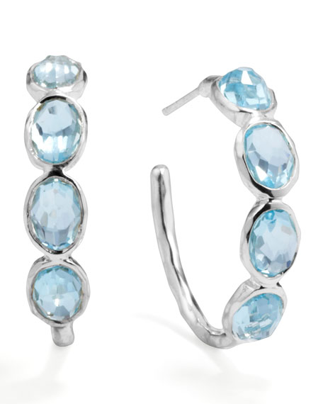 Silver Four-Stone Hoop Earrings in Sky Blue Topaz