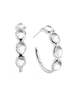 Ippolita Rock Candy Silver Four-Stone #2 Hoop Earrings, Clear Quartz