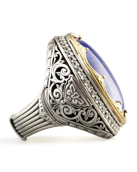 Round Topaz-Bezel Lapis Ring