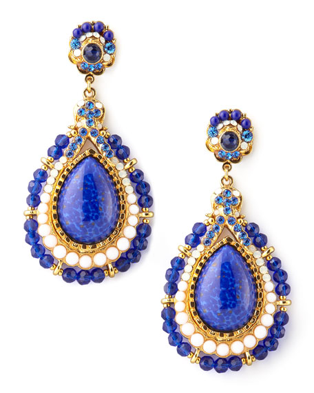 Beaded Teardrop Clip Earrings, Blue