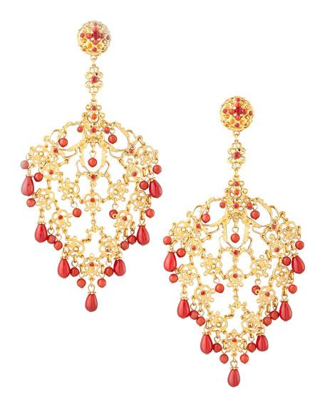 Filigree Chandelier Clip Earrings, Red