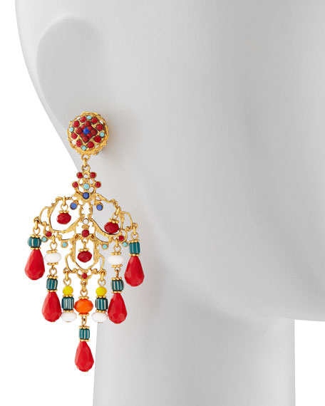 Beaded Chandelier Clip Earrings, Red/Multicolor