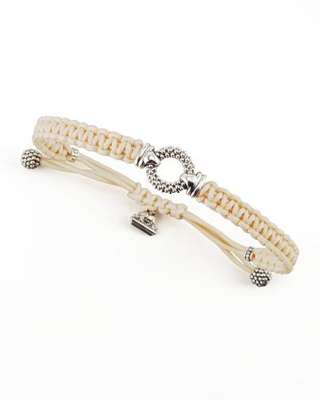 Sterling Silver Caviar Macrame Bracelet, Tan