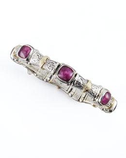 Konstantino 18k Gold & Silver Ruby/Quartz Doublet-Station Bracelet