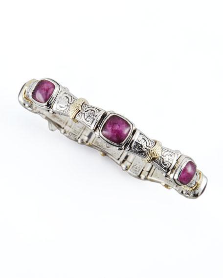 18k Gold & Silver Ruby/Quartz Doublet-Station Bracelet