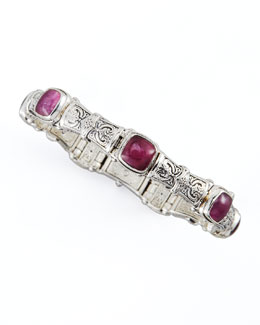 Konstantino Silver Ruby/Quartz Doublet-Station Bracelet