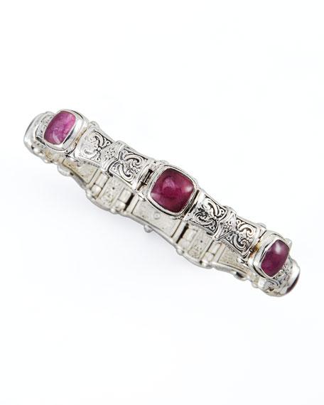 Silver Ruby/Quartz Doublet-Station Bracelet