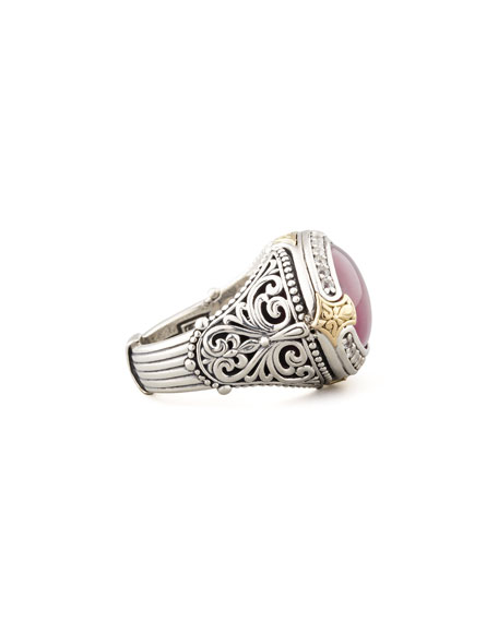 Oval Silver & 18k Gold Ruby/Quartz Doublet Ring